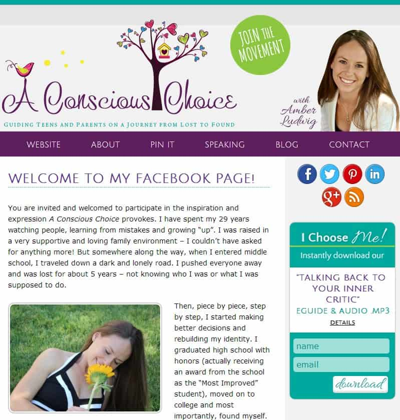 Facebook Welcome Landing Page Designed by Amber Ludwig-Vilhauer, NGNG Enterprises