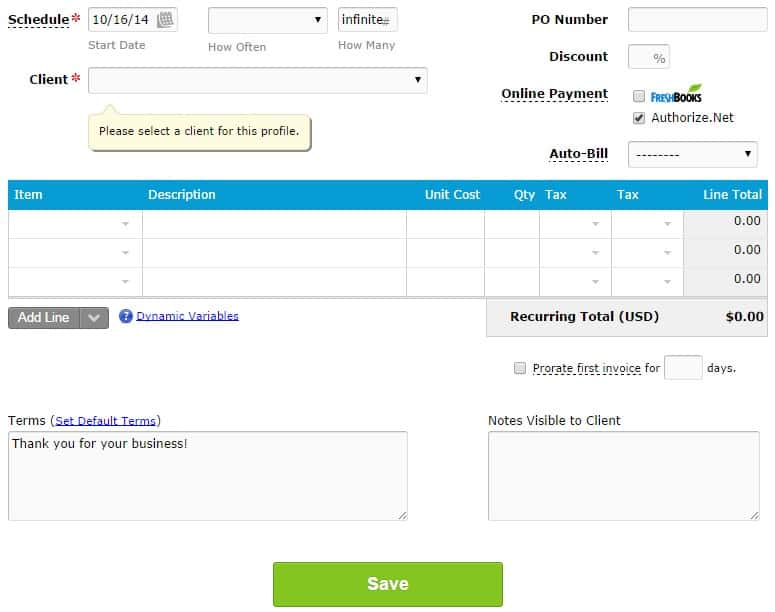 Freshbooks recurring invoices